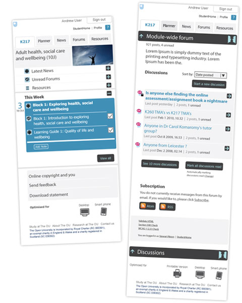 The home page and forum page for the new VLE on Mobile