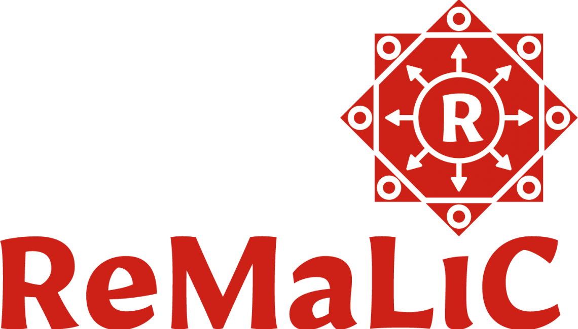 Remalic logo and logotype in deep red